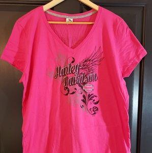 Pink Harley  Davidson Motorcycles V-neck Shirt